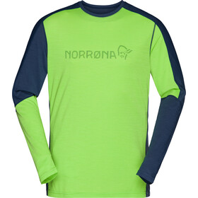Norrøna Equaliser T-shirt Manches longues Col rond Mérinos Homme, bamboo green/vintage indigo